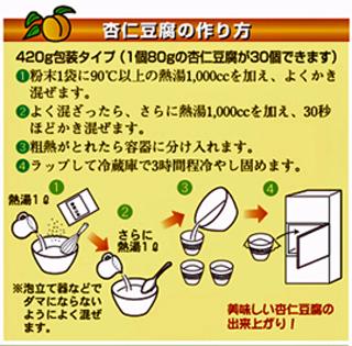 「杏仁豆腐の素」 「杏仁豆腐の作り方」についての参考例です。